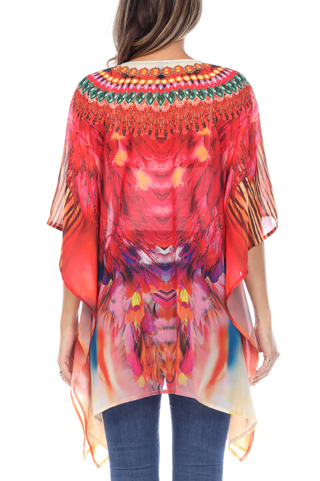 White Mark  Short Caftan with Tie-up Neckline - Front Full Image