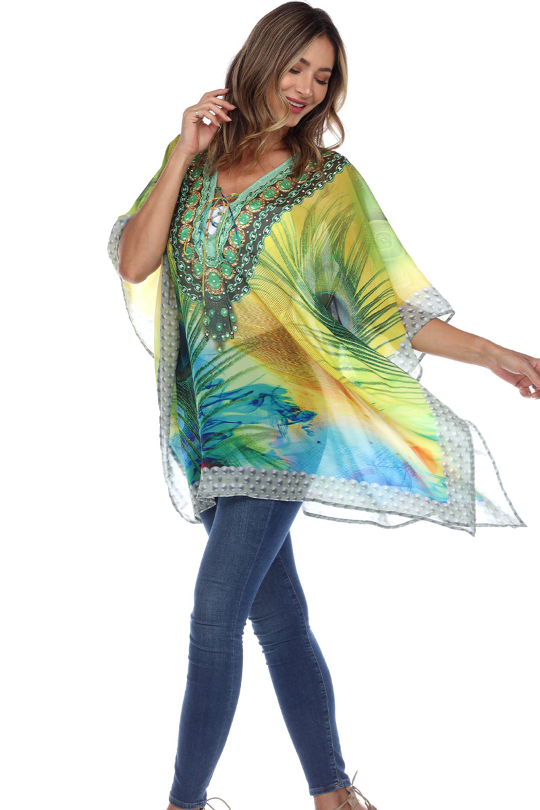 White Mark  Short Caftan with Tie-up Neckline - Side Cropped Image