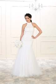 May Queen  White Mermaid Bridal Gown - Front cropped