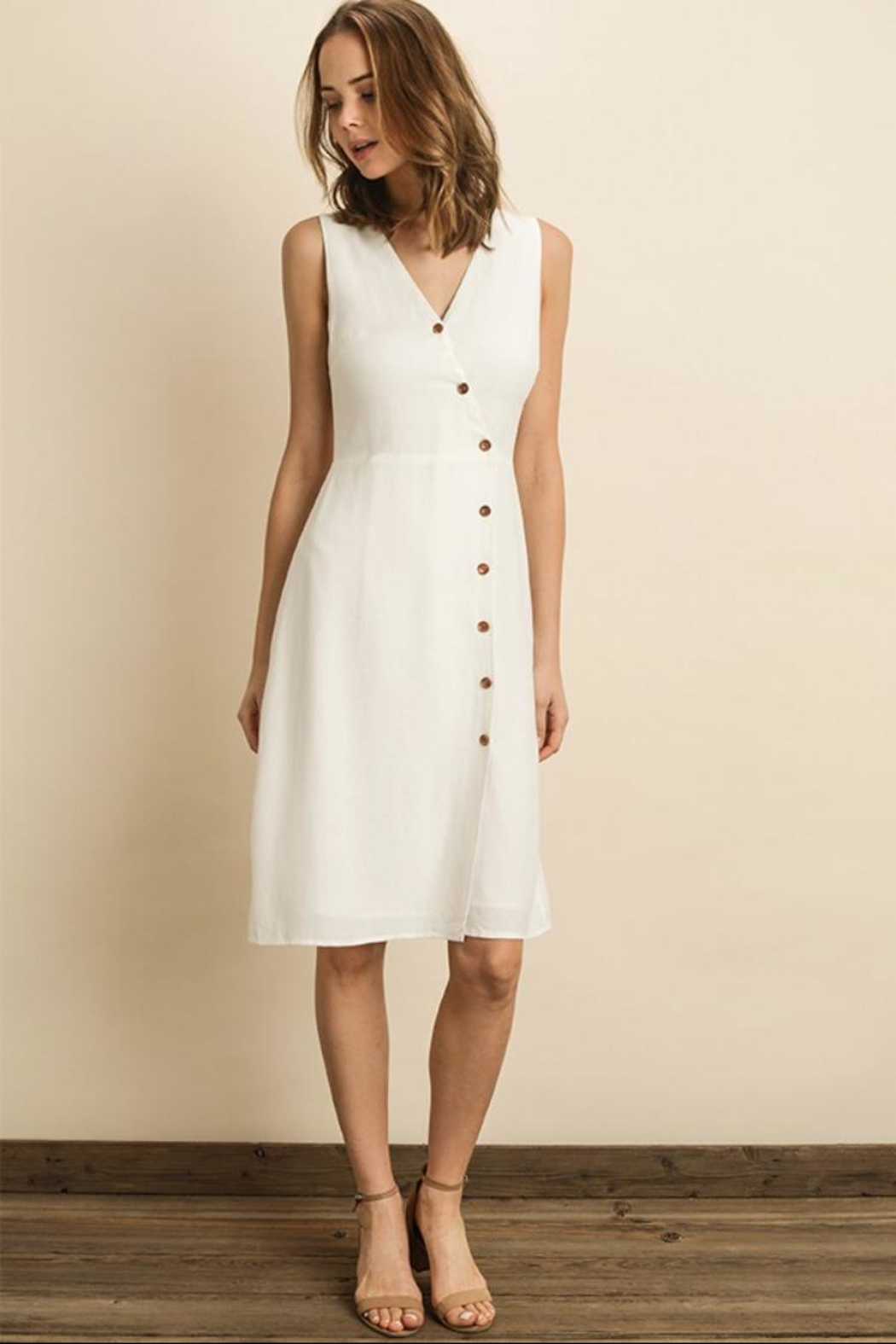 dress forum White Midi Dress - Front Cropped Image
