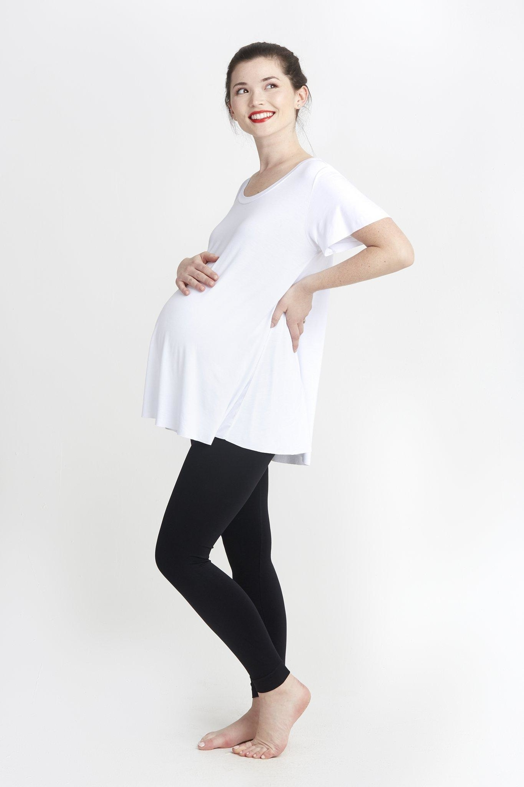 NOM Maternity White Mimi Tee - Side Cropped Image