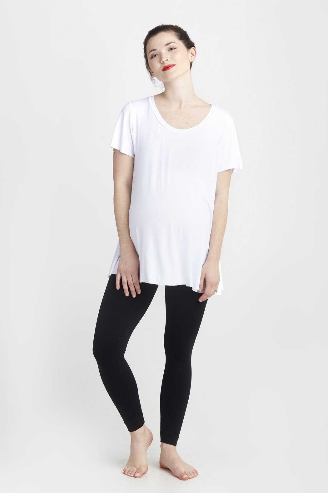 NOM Maternity White Mimi Tee - Front Cropped Image