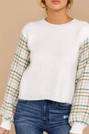 English Factory White Multi Plaid Sweater - Front cropped