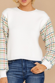 English Factory White Multi Plaid Sweater - Front full body