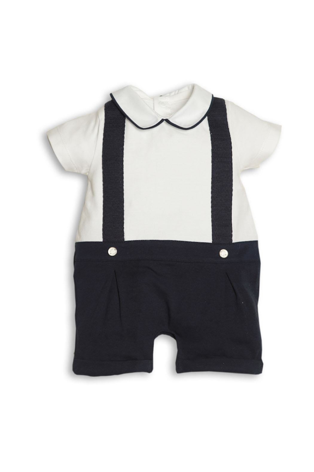 First White-Navy Blue Shortie - Front Cropped Image