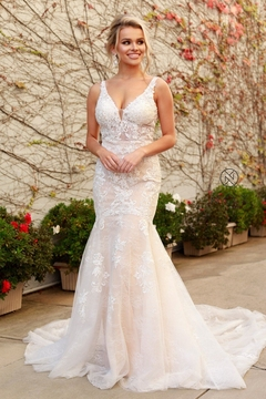 NOX A N A B E L White & Nude Lace Fit & Flare Bridal Gown - Product List Image