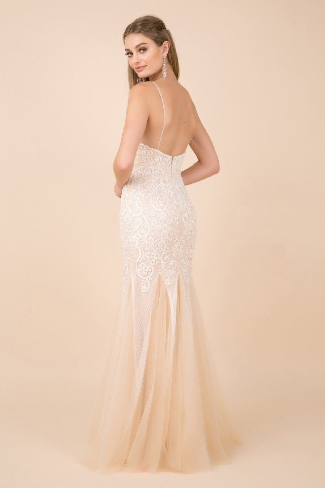 NOX A N A B E L White & Nude Lace Mermaid Bridal Gown - Side Cropped Image