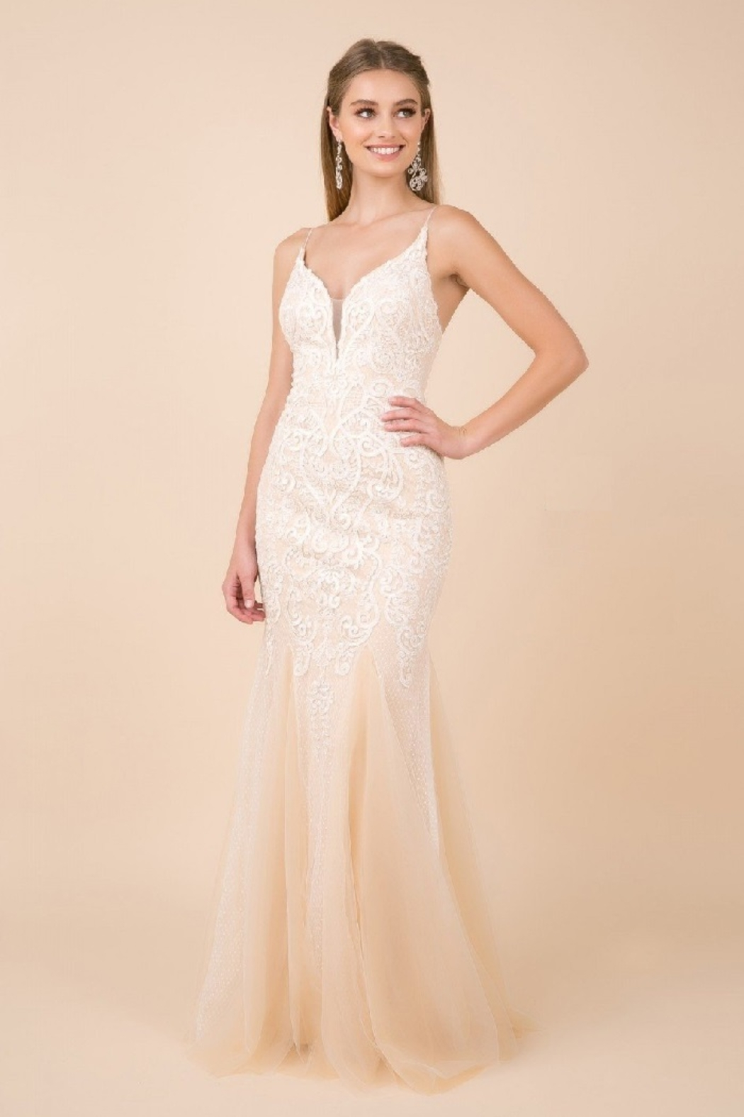 NOX A N A B E L White & Nude Lace Mermaid Bridal Gown - Front Full Image