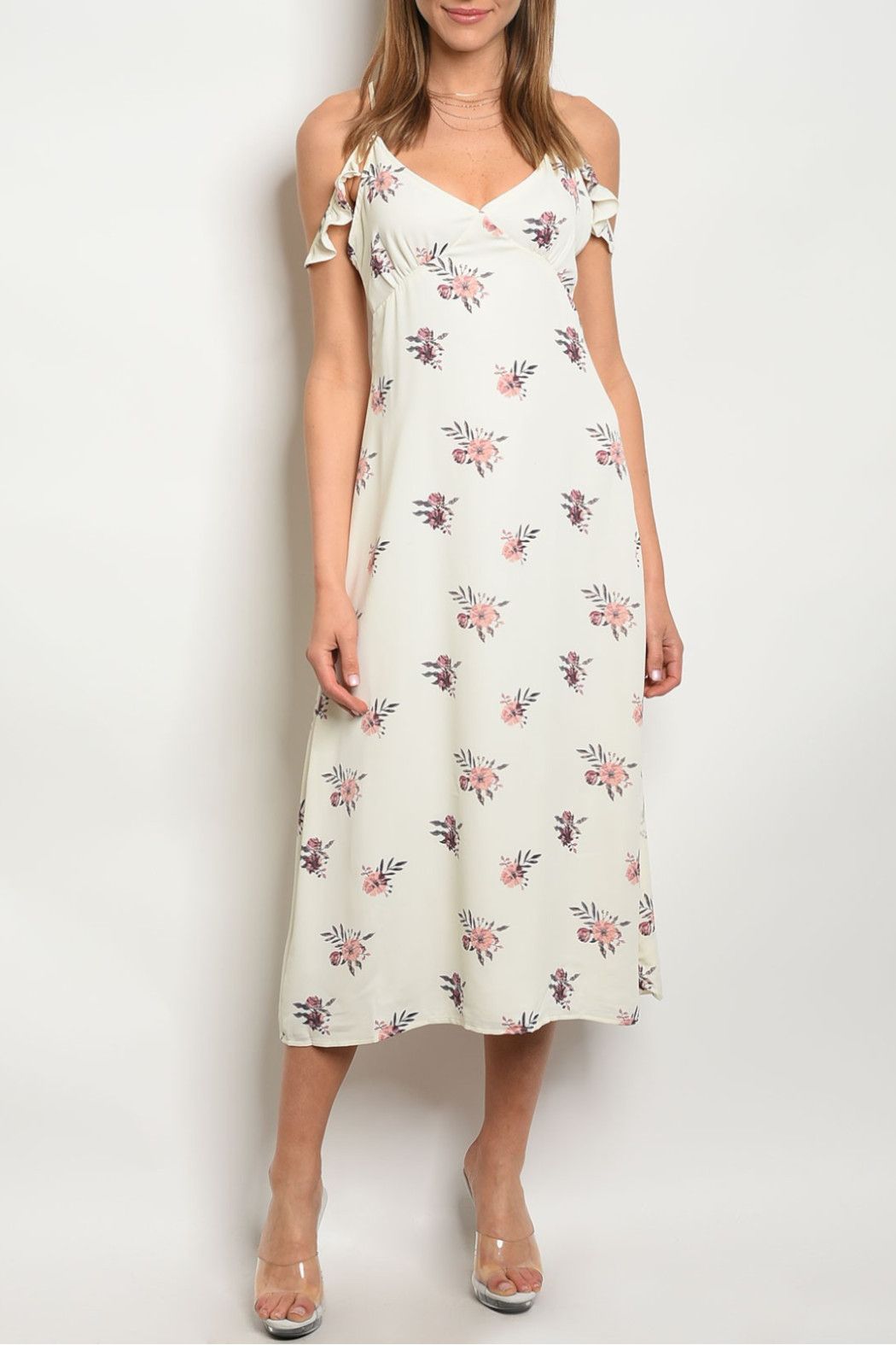 Honey Punch White Off Midi Dress - Front Cropped Image
