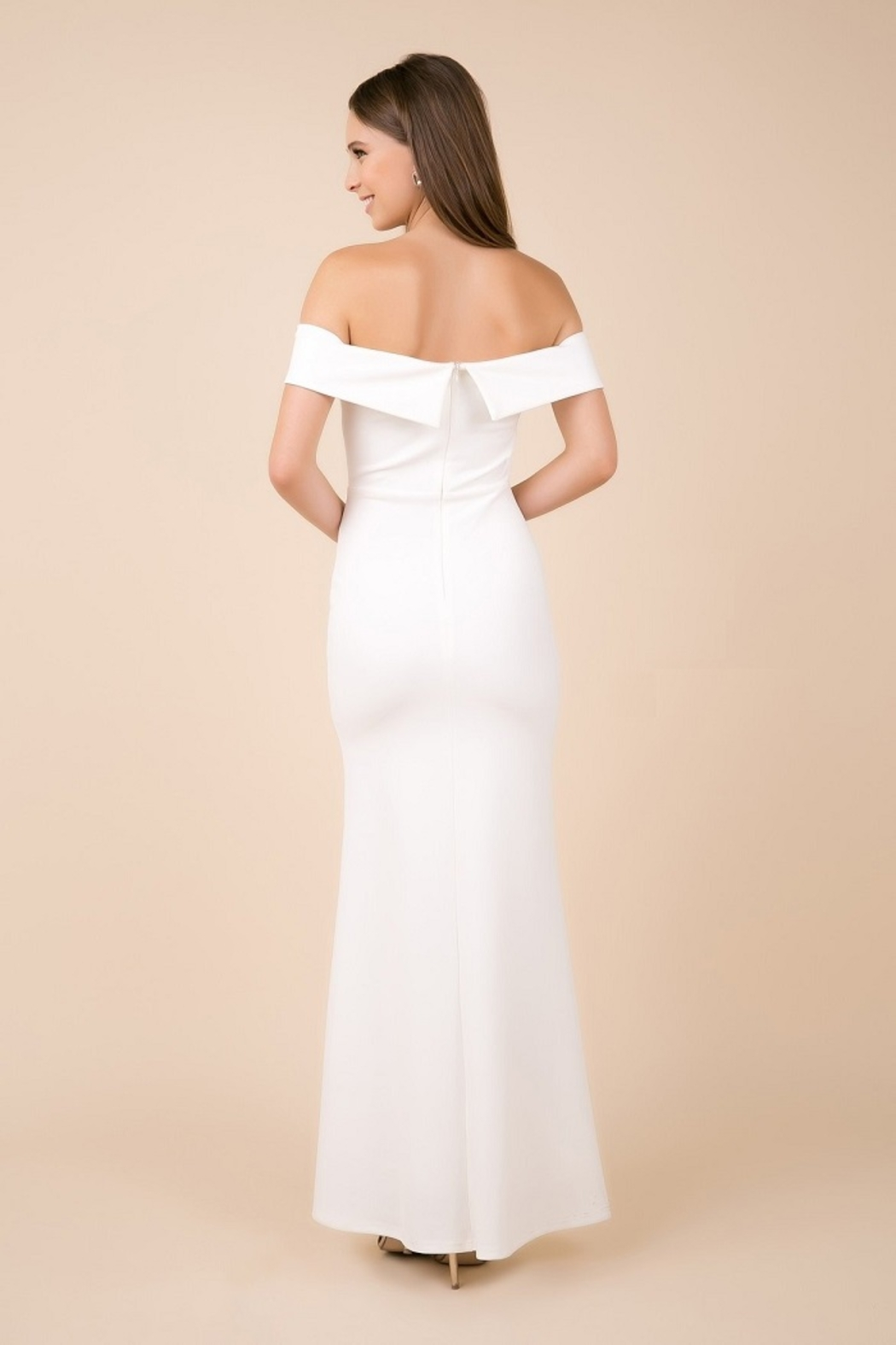 NOX A N A B E L White Off Shoulder Fit & Flare Bridal Gown - Front Full Image