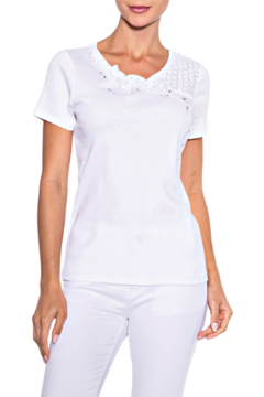 Alison Sheri White on White Tee - Product List Image