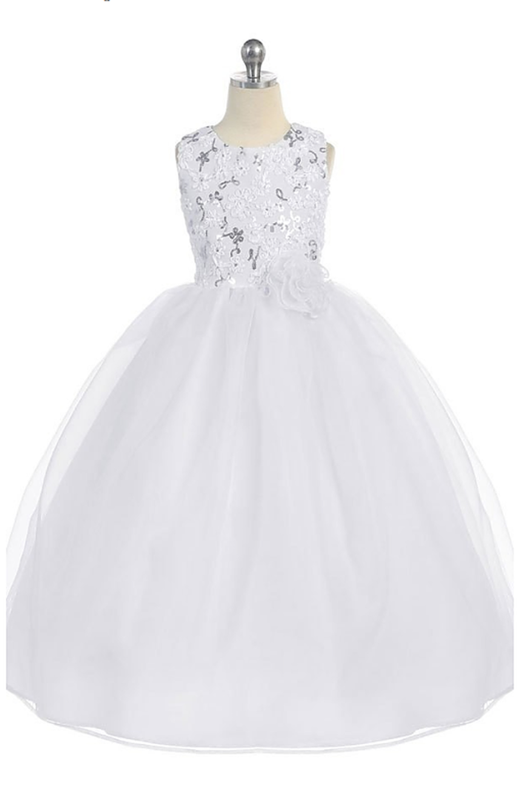 Calla Collections Sparkly Sleeveless Organza Gown - Back Cropped Image