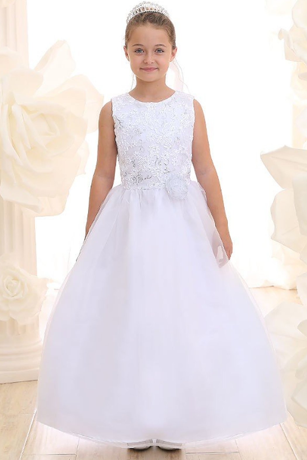 Calla Collections Sparkly Sleeveless Organza Gown - Main Image