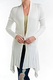 fashion123 White Panel Cardigan - Front cropped
