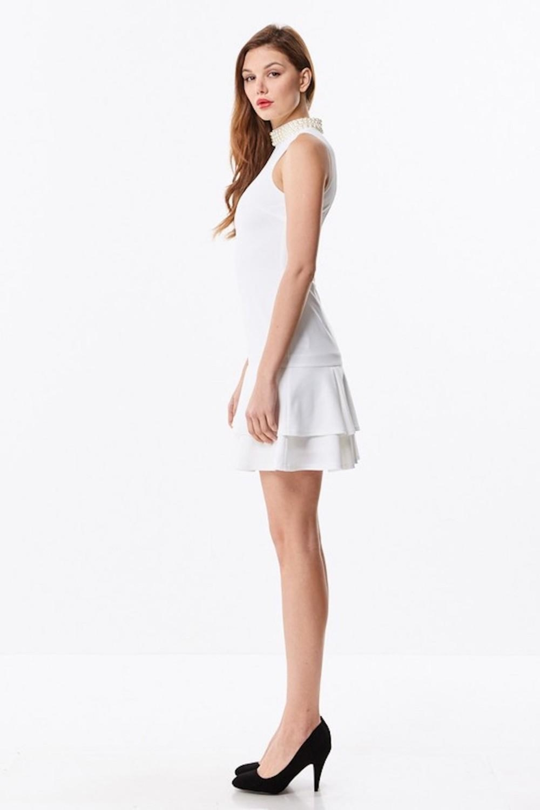 Ina White Pearl Dress - Side Cropped Image