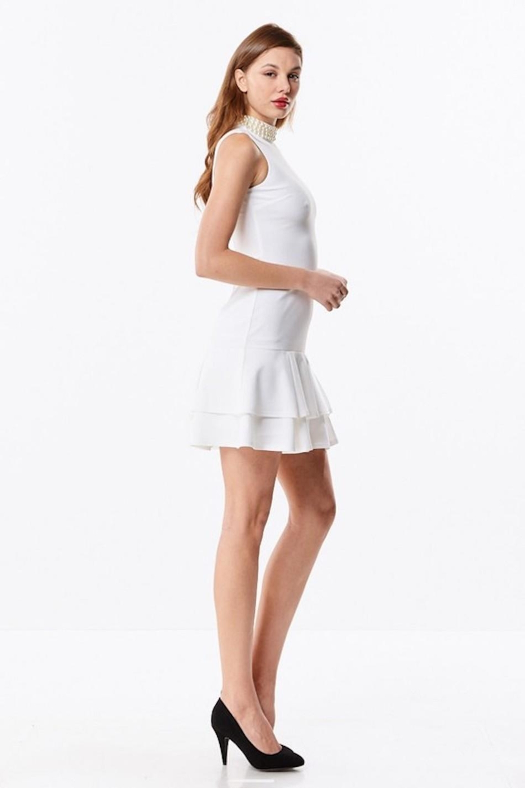 Ina White Pearl Dress - Front Full Image