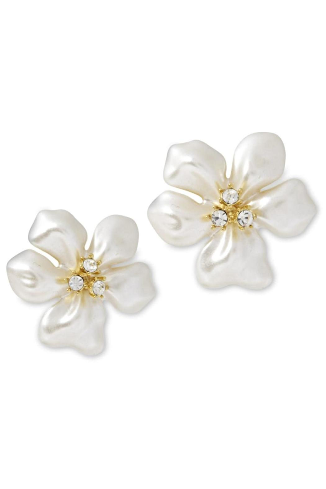 Kenneth Jay Lane Pearl Flower Earrings Front Cropped Image