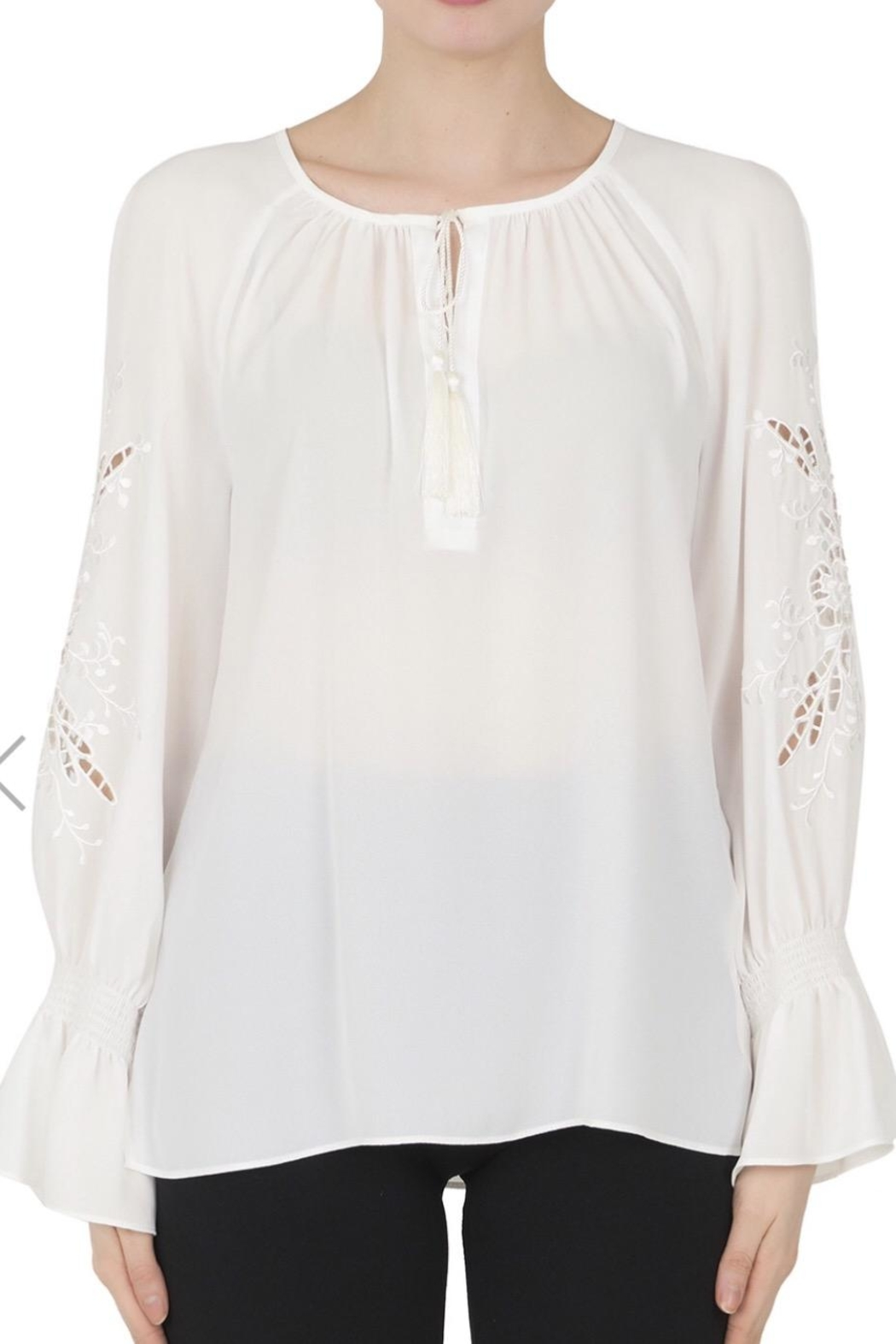 Joseph Ribkoff White Peasant Blouse - Front Cropped Image