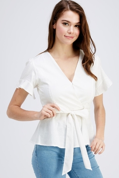 She + Sky White Peplum Blouse - Product List Image