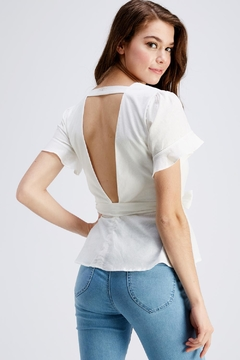 She + Sky White Peplum Blouse - Alternate List Image