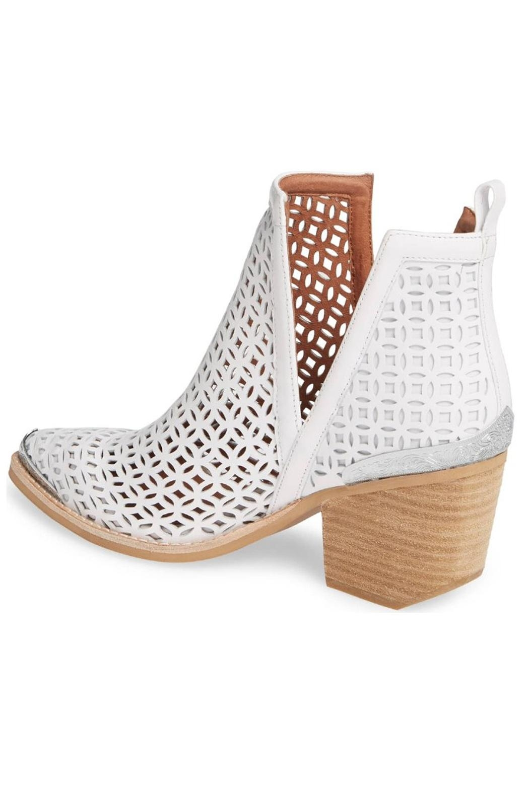 Jeffrey Campbell White Perforated Booties - Front Full Image
