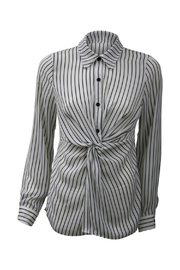Kay Celine White Pinstripe Knot Front Blouse - Front cropped
