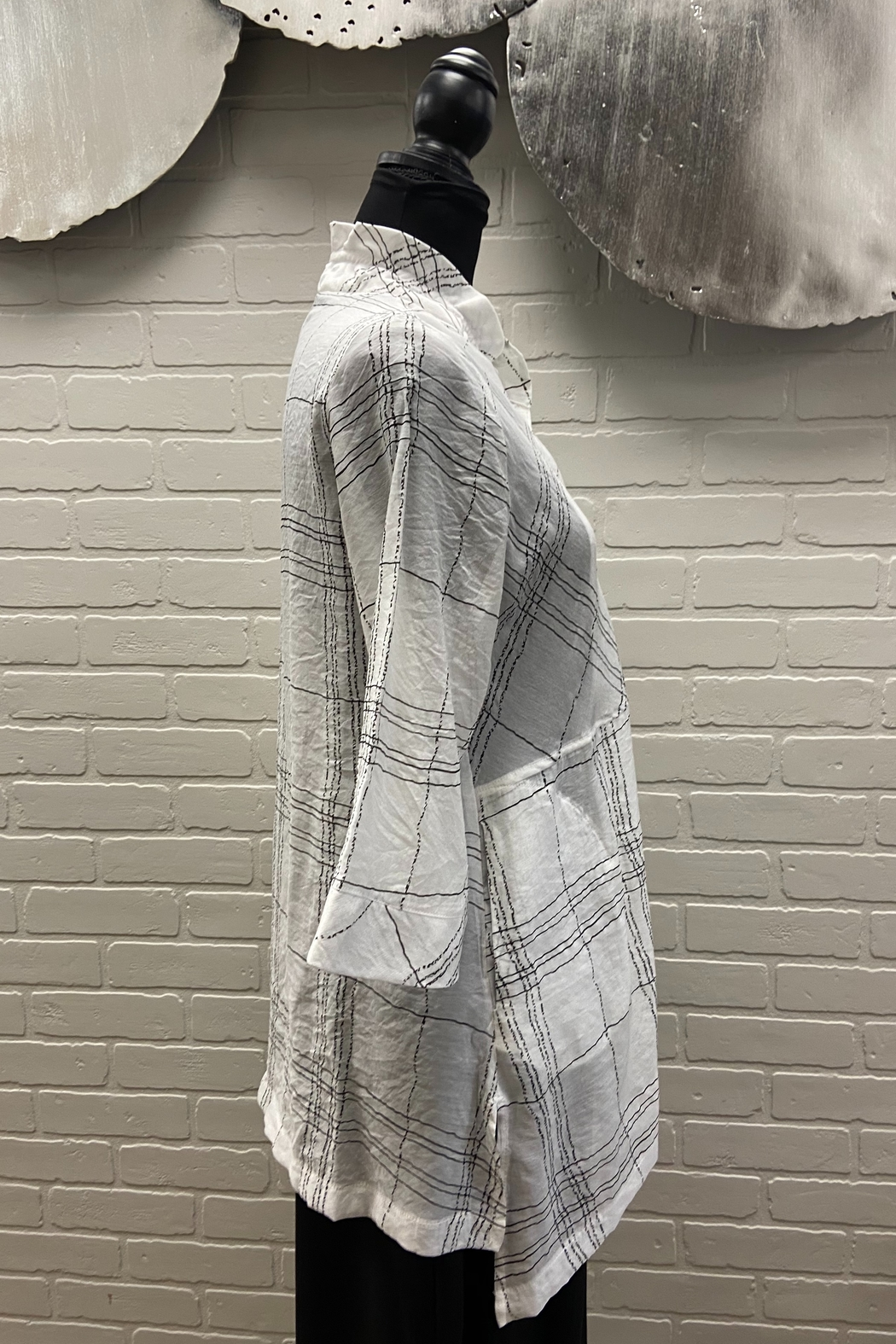 Terra White Plaid Top - Front Full Image