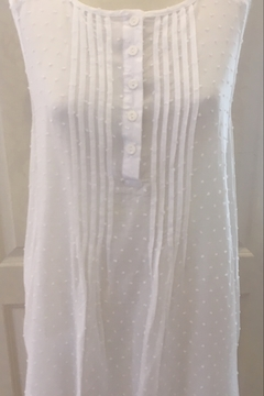 Ethyl White Pleated Tunic tank with Lace - Product List Image