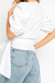 Olivaceous  White Puff Sleeve Tie Top - Product Mini Image