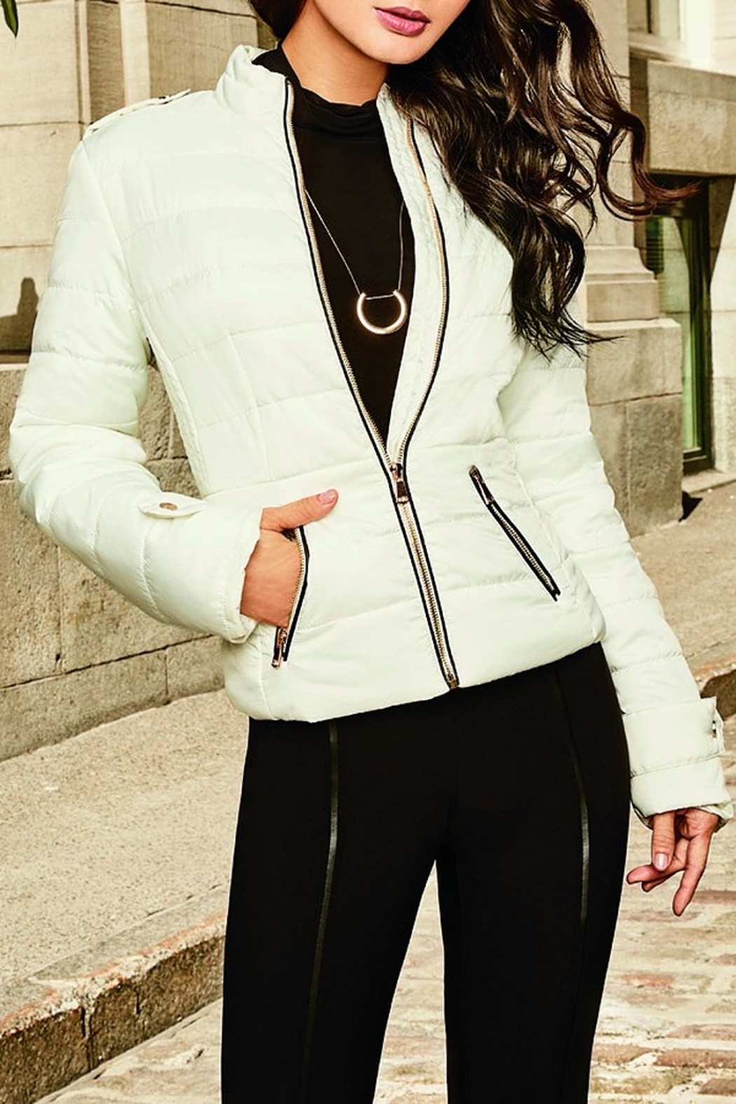 Frank Lyman White Puffer Jacket - Front Cropped Image