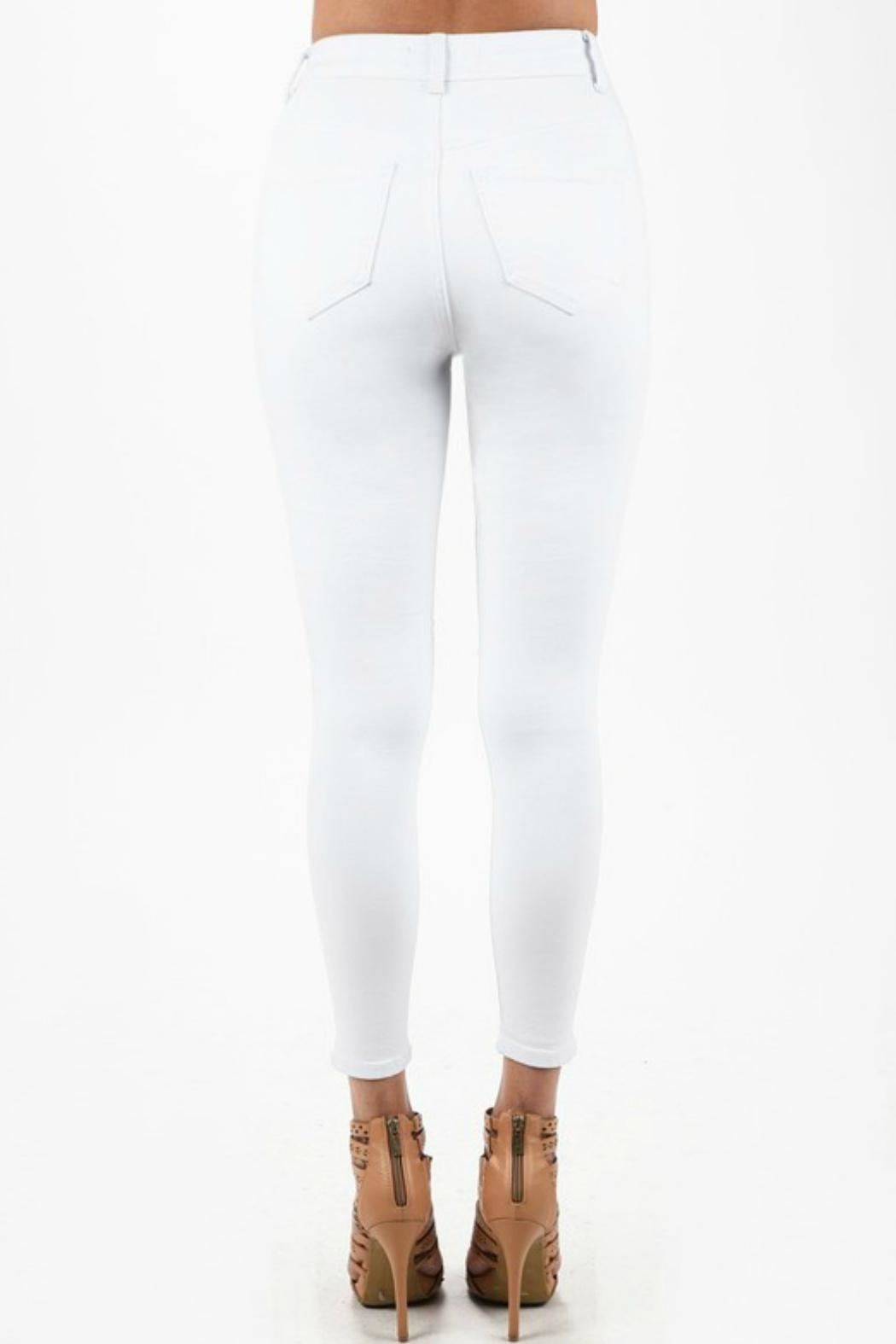 Imagine That White Ripped Jeans - Back Cropped Image