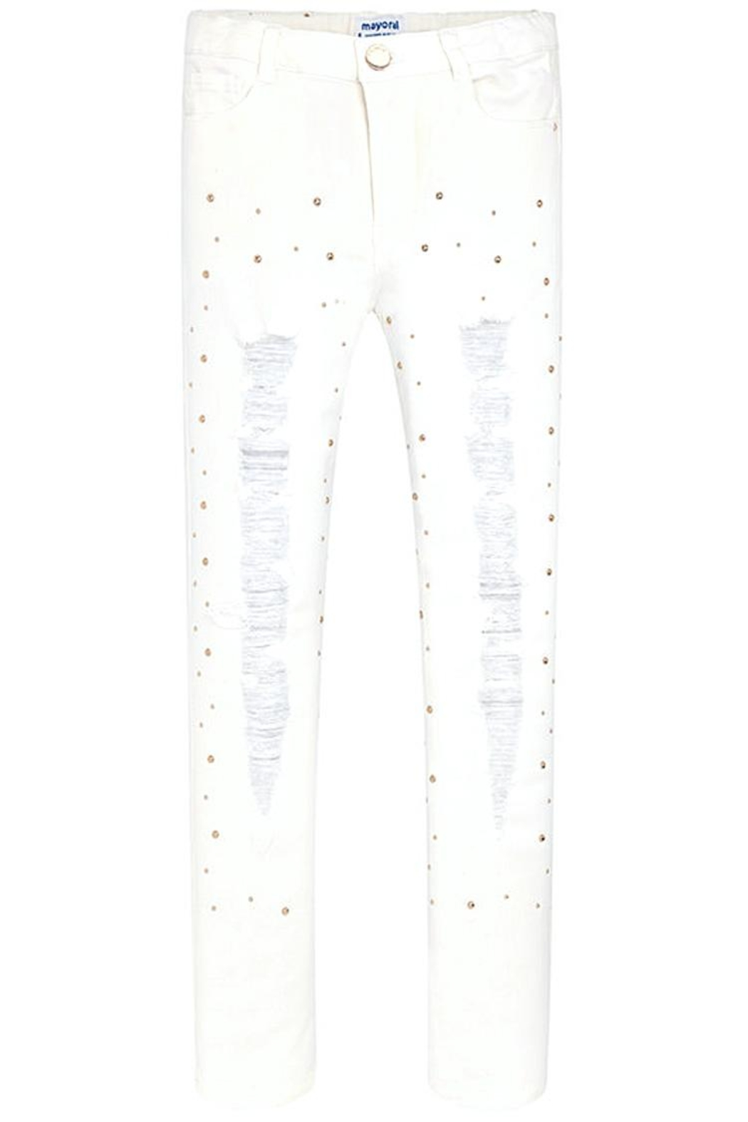 Mayoral White Ripped/studded Jean - Side Cropped Image