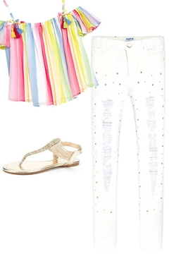 Shoptiques Product: White Ripped/studded Jean