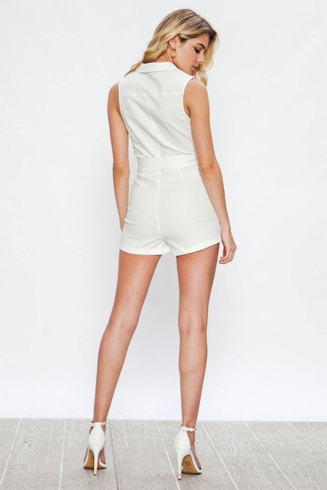 Jealous Tomato White Romper - Side Cropped Image