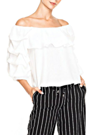 Elena Wang White Roushed Sleeve Blouse - Product Mini Image