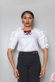 MODChic Couture White Ruffle Blouse - Front cropped