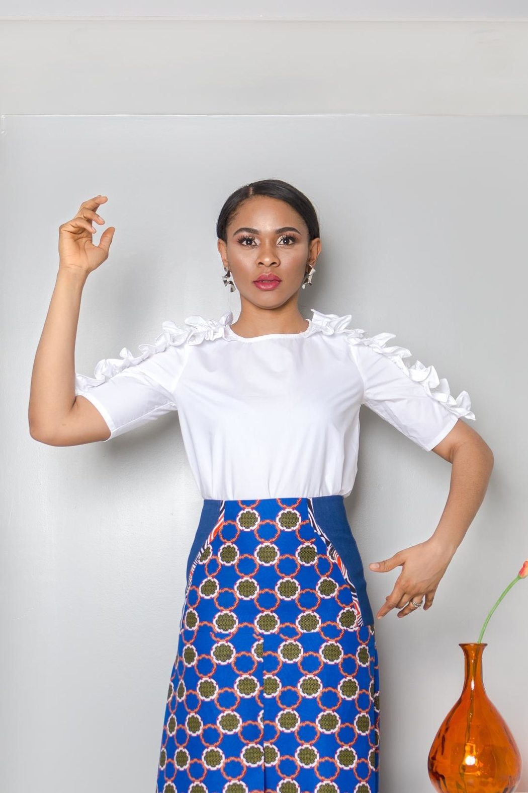 MODChic Couture White Ruffle Blouse - Front Full Image