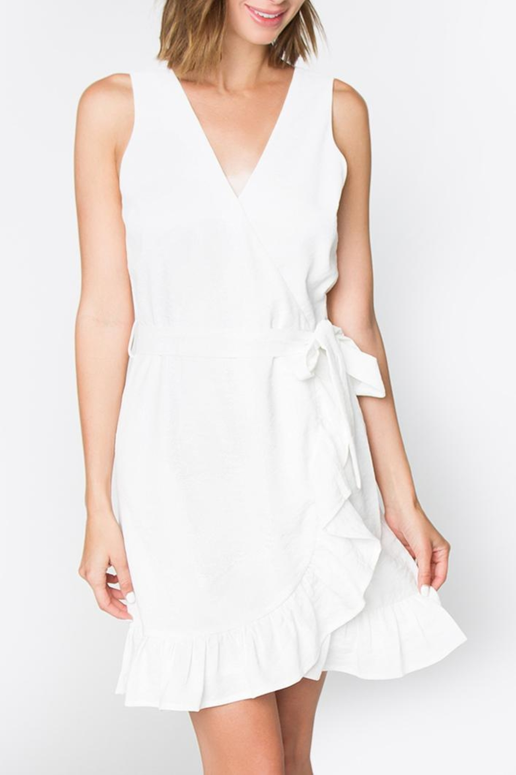 Sugarlips White Ruffle Dress - Front Cropped Image