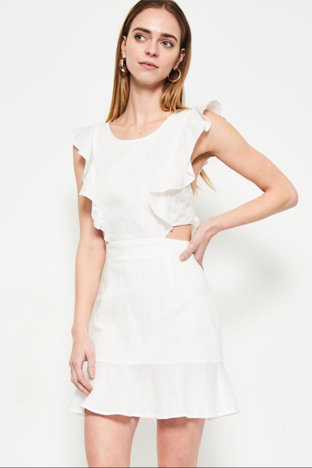 etophe studios White Ruffle Dress - Front Cropped Image