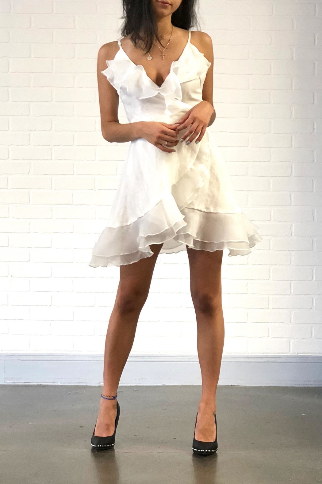 one & only White Ruffle Dress - Front Cropped Image