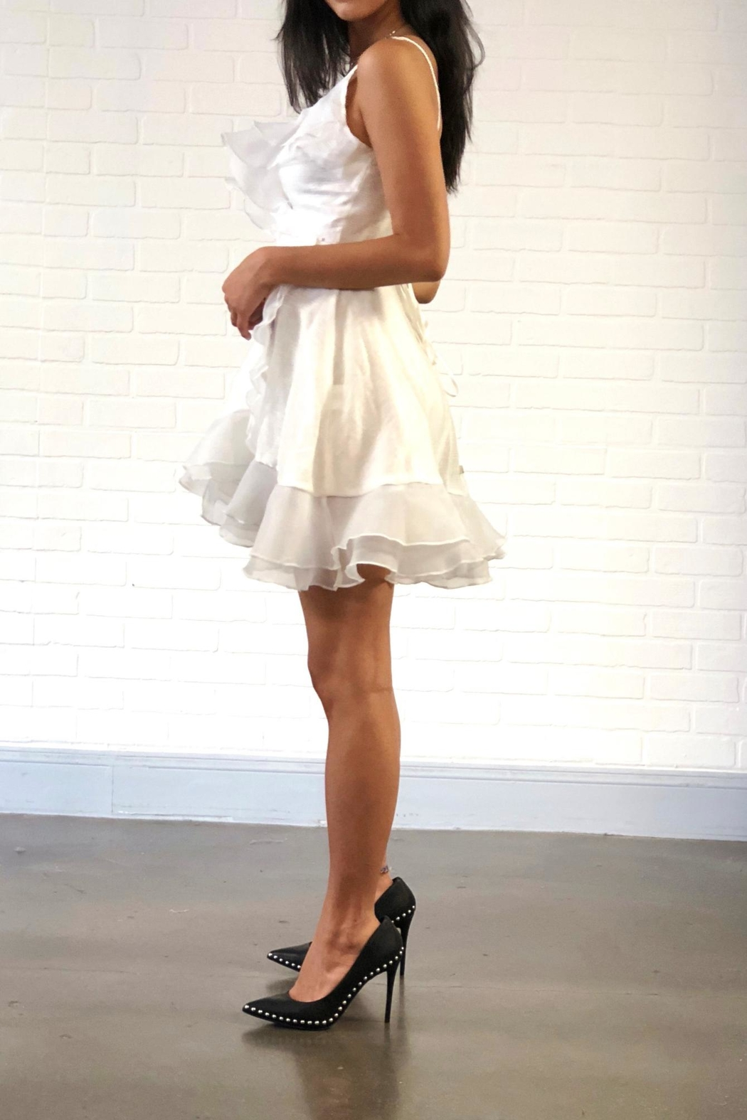 one & only White Ruffle Dress - Front Full Image