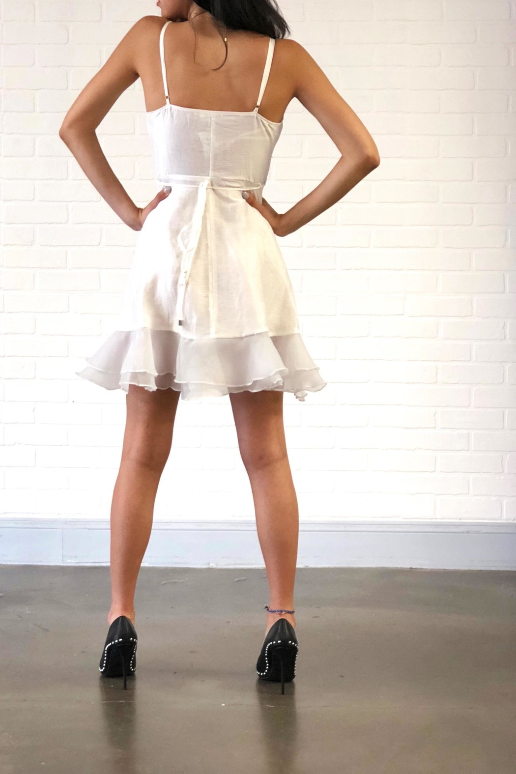 one & only White Ruffle Dress - Side Cropped Image