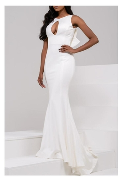 Jovani PROM White Ruffle Gown - Product List Image