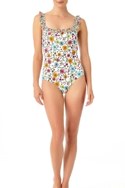 Anne Cole White Ruffle Maillot - Front cropped