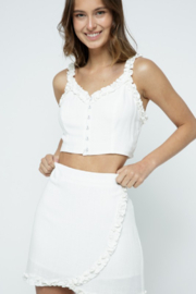 Kayla's Armoire White Ruffle Skirt - Front cropped