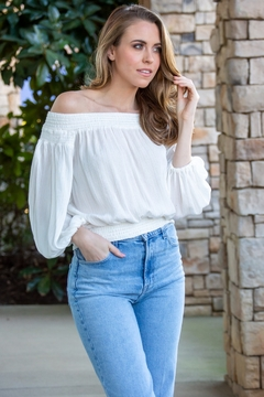 Traffic People White Sands Metallic Off the Shoulder Top - Product List Image