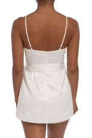 luxxel White Satin Romper - Front full body