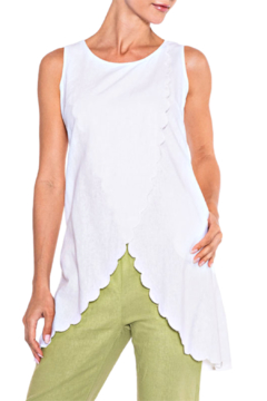 Alison Sheri White Scallop Tunic - Product List Image