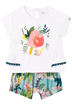 Deux Par Deux White Sloth Print T-Shirt & Printed Jungle Short Set - Product List Image
