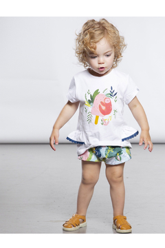 Deux Par Deux White Sloth Print T-Shirt & Printed Jungle Short Set - Alternate List Image